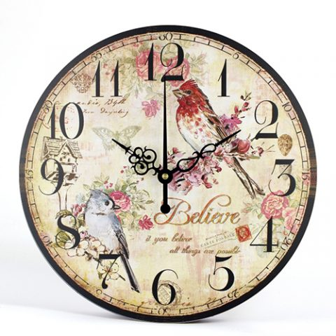 Wall Clock Flowered Large Watch