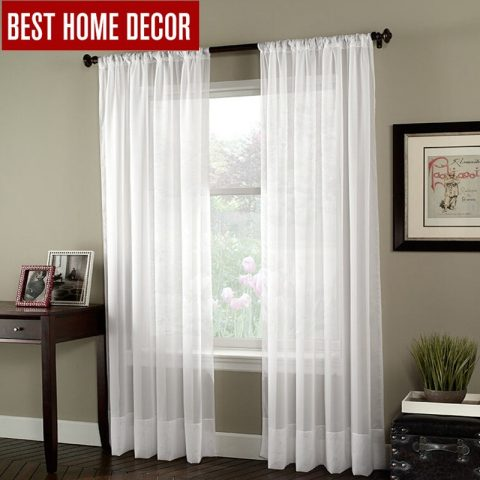 White Tulle Sheer Window Curtains