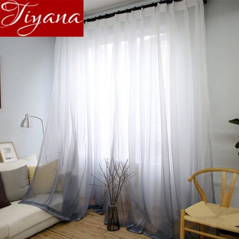 Print Voile Living Room Curtains