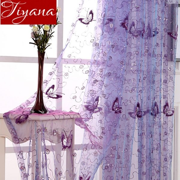 Butterfly Embroidered Voile Curtain