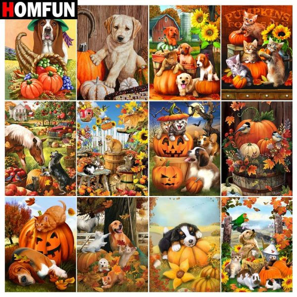 Diamond Painting Dog Animal Pumpkin