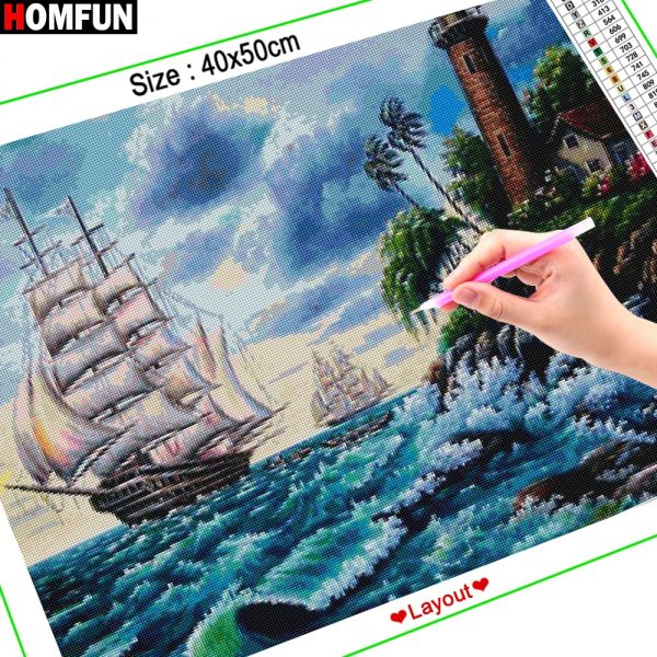 Embroidery Boat Landscape Sea Painting